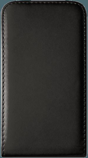 Apple iPhone 5 lenyíló flipes bőrtok  fekete