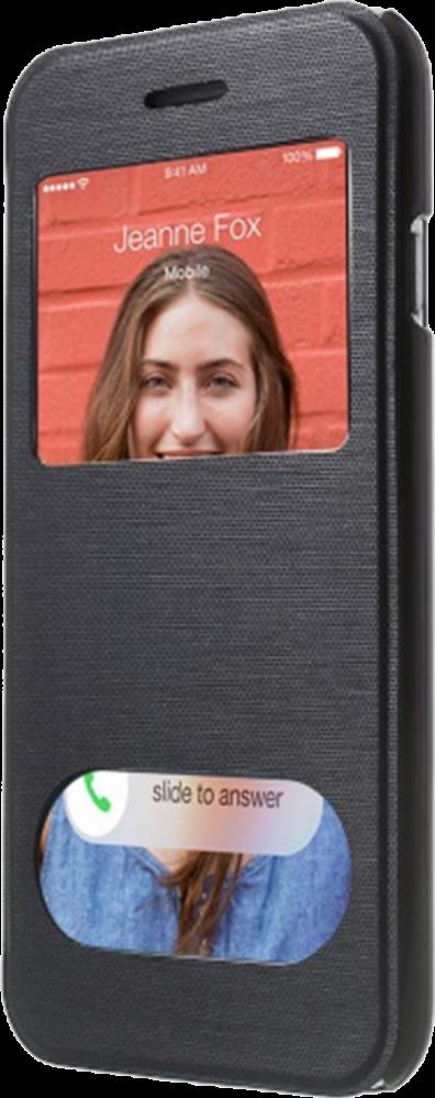 Apple iPhone 6S oldalra nyíló flipes műanyag tok fekete