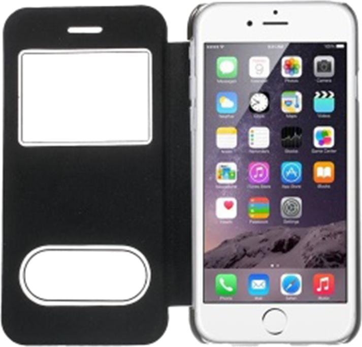 Apple iPhone 6 oldalra nyíló flipes műanyag tok fekete