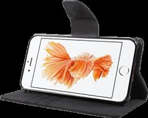 Apple iPhone 7 oldalra nyíló flipes bőrtok gyári MERCURYCASE textil hatás fekete