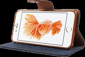 Apple iPhone 7 oldalra nyíló flipes bőrtok gyári MERCURYCASE textil hatás sötétkék