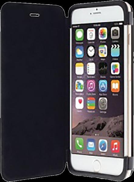 Apple iPhone 6S Plus oldalra nyíló flipes műanyag tok gyári KRUSELL bőr flip fekete