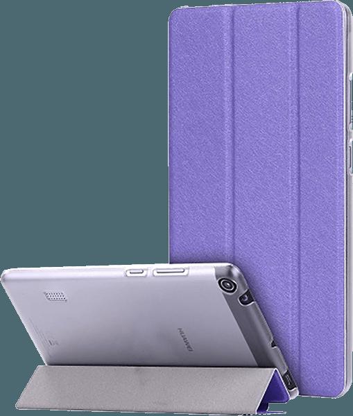 Huawei MediaPad T3 7 oldalra nyíló flipes bőrtok selyem mintás lila