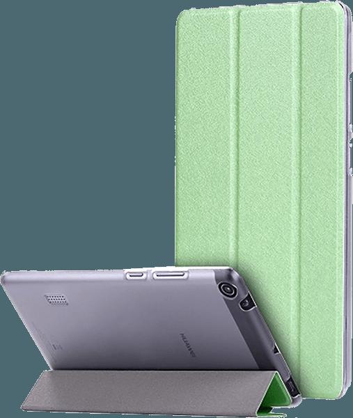 Huawei MediaPad T3 7 oldalra nyíló flipes bőrtok selyem mintás zöld