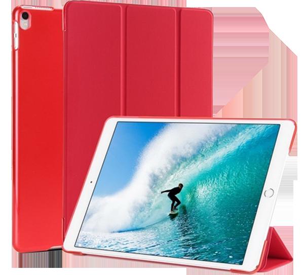 Apple iPad Pro 2017 10.5 oldalra nyíló flipes műanyag tok TRIFOLD asztali tartó funkció piros