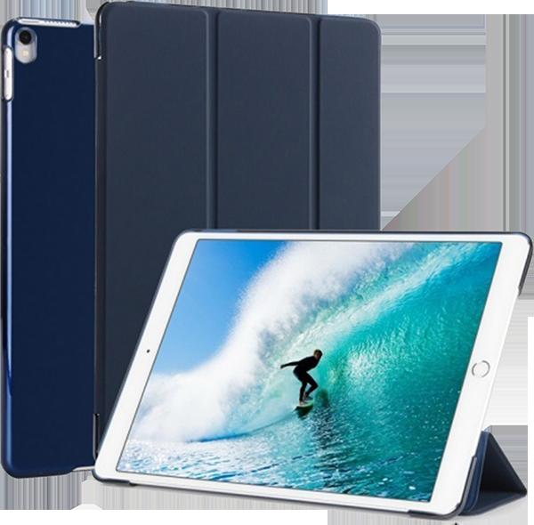 Apple iPad Pro 2017 10.5 oldalra nyíló flipes műanyag tok TRIFOLD asztali tartó funkció sötétkék