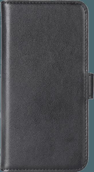 Huawei P9 Lite Mini oldalra nyíló flipes bőrtok valódi bőr fekete