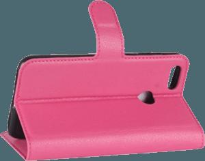 Huawei P9 Lite Mini oldalra nyíló flipes bőrtok asztali tartó funkciós rózsaszín