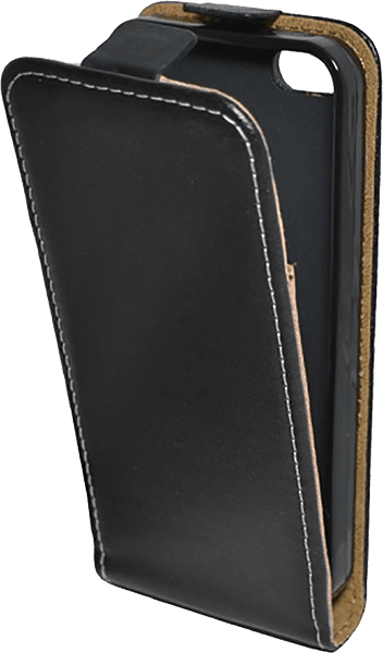 Apple iPhone 5S lenyíló flipes bőrtok  fekete