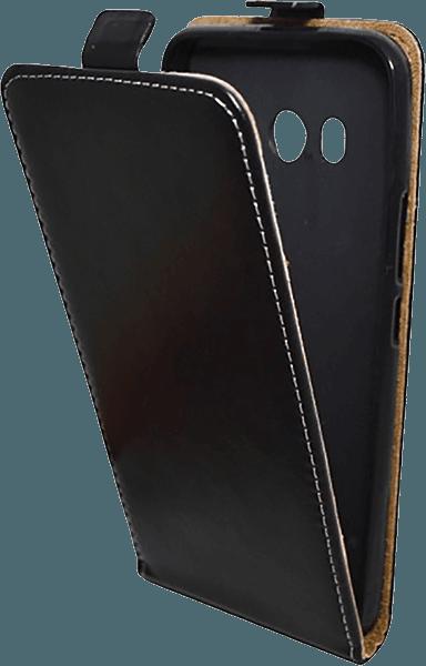 HTC U11 oldalra nyíló flipes bőrtok szilikon tartó fekete