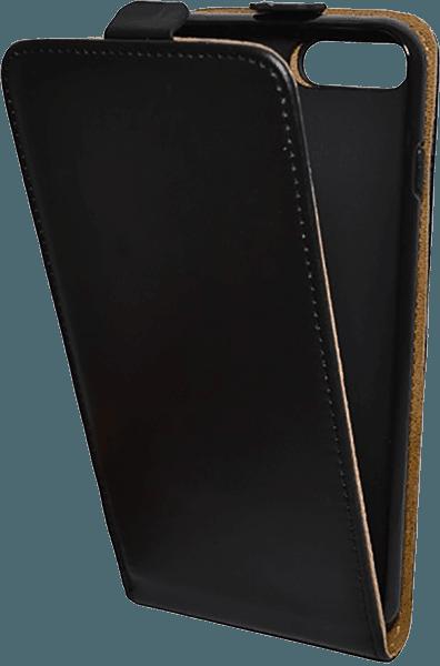 Apple iPhone 8 Plus lenyíló flipes bőrtok fekete