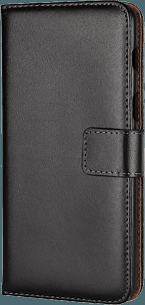 Samsung Galaxy A8 2018 (A530) oldalra nyíló flipes bőrtok valódi bőr fekete