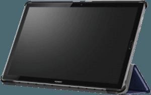 Huawei MediaPad M5 10.8 LTE oldalra nyíló flipes bőrtok TRIFOLD asztali tartó funkció sötétkék