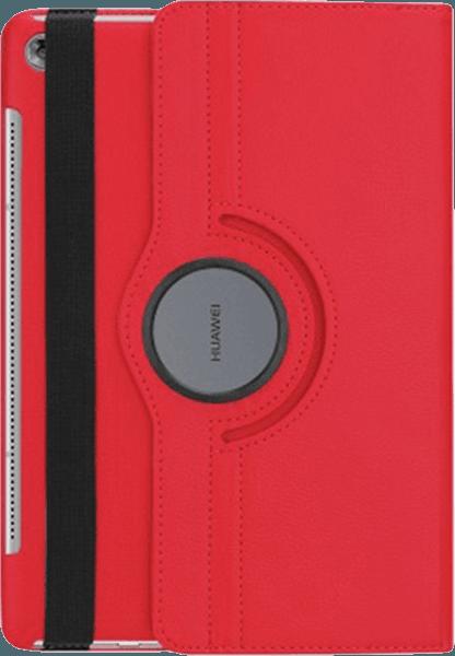 Huawei MediaPad M5 10.8 LTE oldalra nyíló flipes bőrtok 360° ban forgatható piros