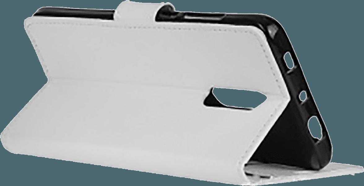Alcatel 3 (OT-5052) oldalra nyíló flipes bőrtok asztali tartó funkciós fehér