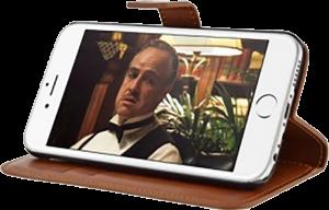 Apple iPhone 6S Plus oldalra nyíló flipes bőrtok gyári BLAUTEL asztali tartó funkciós barna