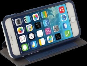 Apple iPhone 6S oldalra nyíló flipes műanyag tok gyári KRUSELL bőr flip kék