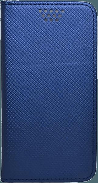 Apple iPhone X oldalra nyíló flipes bőrtok öntapadós rögzítés kék