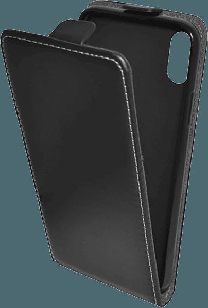 Apple iPhone XS lenyíló flipes bőrtok szilikon tartó fekete