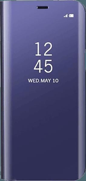 Apple iPhone XS oldalra nyíló flipes bőrtok Clear View Cover lila
