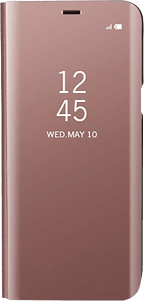 Apple iPhone XS oldalra nyíló flipes bőrtok Clear View Cover rozéarany