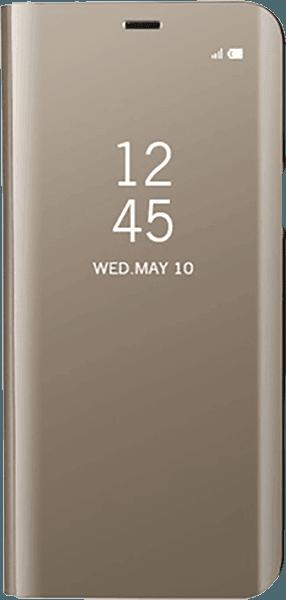 Apple iPhone XS oldalra nyíló flipes bőrtok Clear View Cover arany