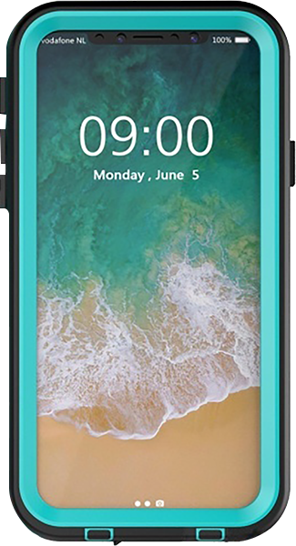 Apple iPhone X vízálló tok logó kihagyós cián