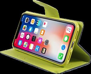 Apple iPhone XS oldalra nyíló flipes bőrtok gyári MERCURYCASE asztali tartó funkciós sötétkék