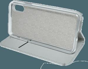 Apple iPhone XS oldalra nyíló flipes bőrtok asztali tartó funkciós ezüst