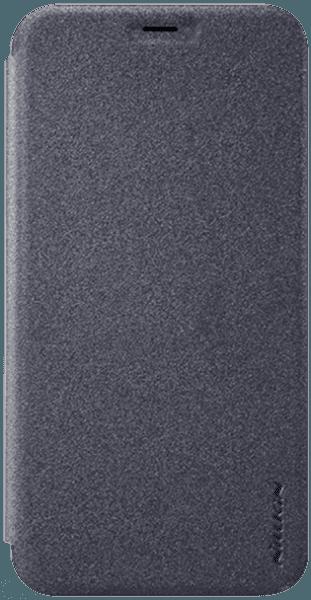 Apple iPhone X oldalra nyíló flipes műanyag tok gyári NILLKIN mikroszálas bőr flip fekete