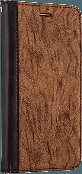 Apple iPhone XS oldalra nyíló flipes bőrtok faerezet minta barna/fekete