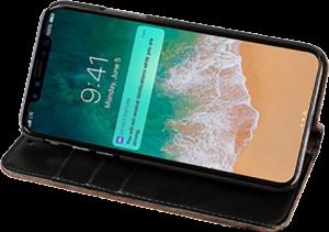 Apple iPhone X oldalra nyíló flipes bőrtok faerezet minta barna/fekete