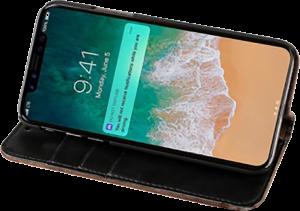 Apple iPhone XS oldalra nyíló flipes bőrtok faerezet minta szürke/fekete