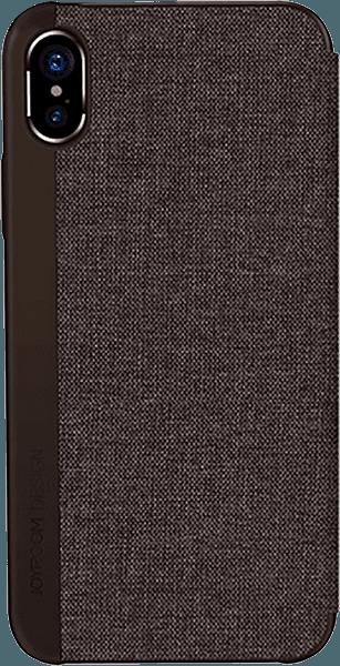 Apple iPhone X oldalra nyíló flipes bőrtok gyári JOYROOM textil bevonatú barna