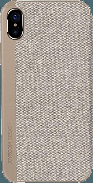 Apple iPhone XS oldalra nyíló flipes bőrtok gyári JOYROOM textil bevonatú világosbarna