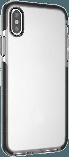 Apple iPhone X szilikon tok gyári BLAUTEL légpárnás sarok átlátszó/fekete
