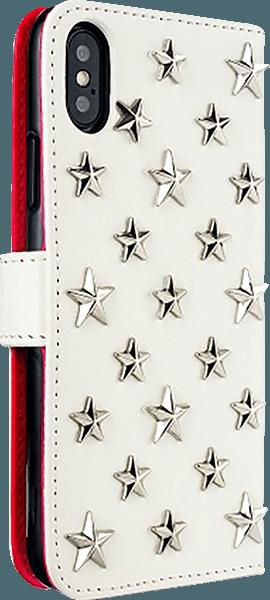 Apple iPhone XS oldalra nyíló flipes bőrtok 3D csillag minta fehér