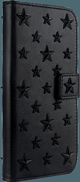 Apple iPhone X oldalra nyíló flipes bőrtok 3D csillag minta fekete