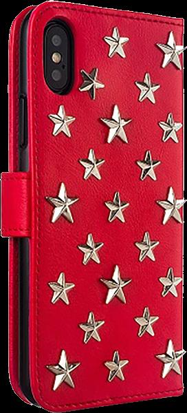 Apple iPhone X oldalra nyíló flipes bőrtok 3D csillag minta piros