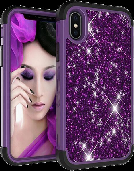 Apple iPhone X kemény hátlap szilikon belső lila