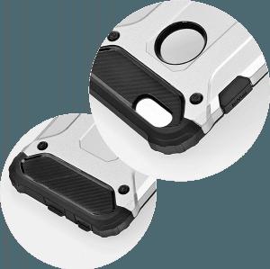 Apple iPhone 5S ütésálló tok légpárnás sarkas, hibrid Forcell Armor logó kihagyós ezüst