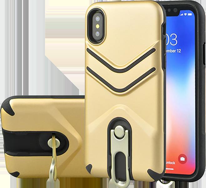 Apple iPhone XR ütésálló tok gumírozott arany