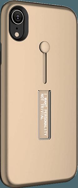 Apple iPhone XR kemény hátlap ujjra húzható szilikon arany