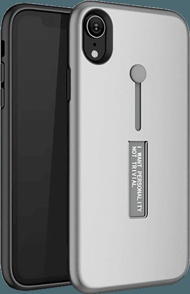 Apple iPhone XR kemény hátlap ujjra húzható szilikon ezüst