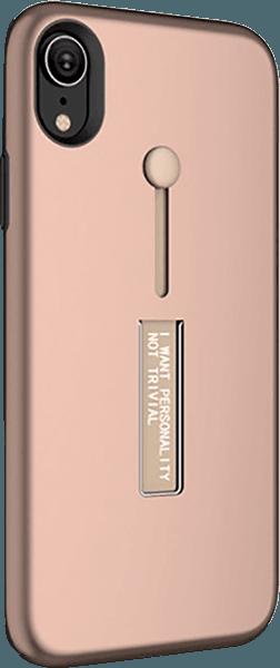 Apple iPhone XR kemény hátlap ujjra húzható szilikon rozéarany