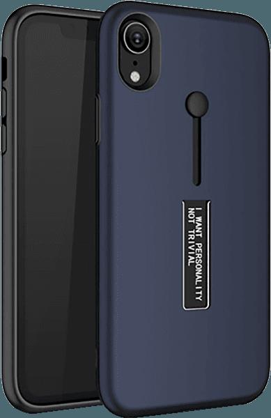 Apple iPhone XR kemény hátlap ujjra húzható szilikon sötétkék