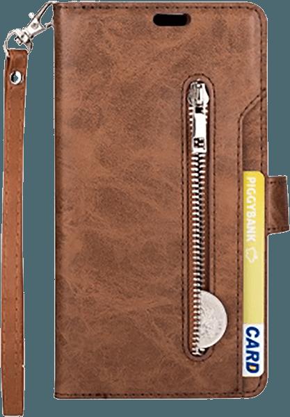 Apple iPhone XR pénztárcás tok csuklópánt barna