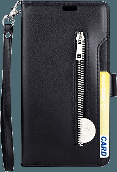 Apple iPhone XR pénztárcás tok csuklópánt fekete