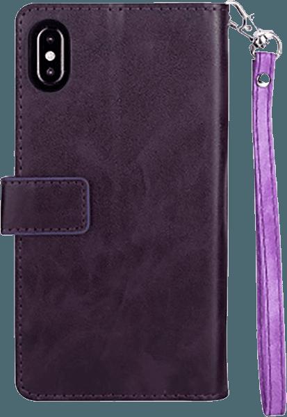 Apple iPhone XR pénztárcás tok csuklópánt lila