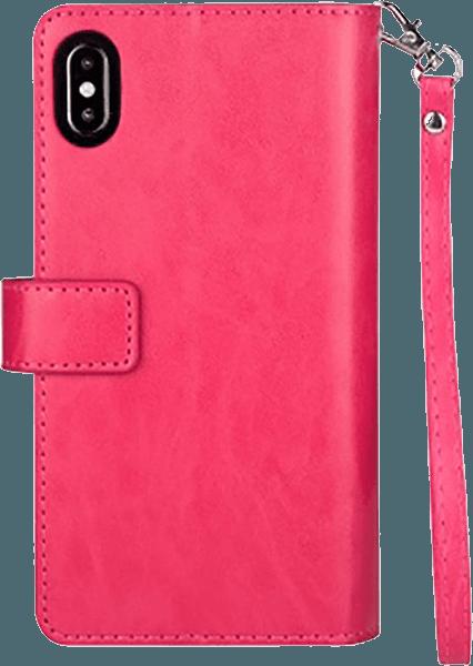 Apple iPhone XR pénztárcás tok csuklópánt rózsaszín